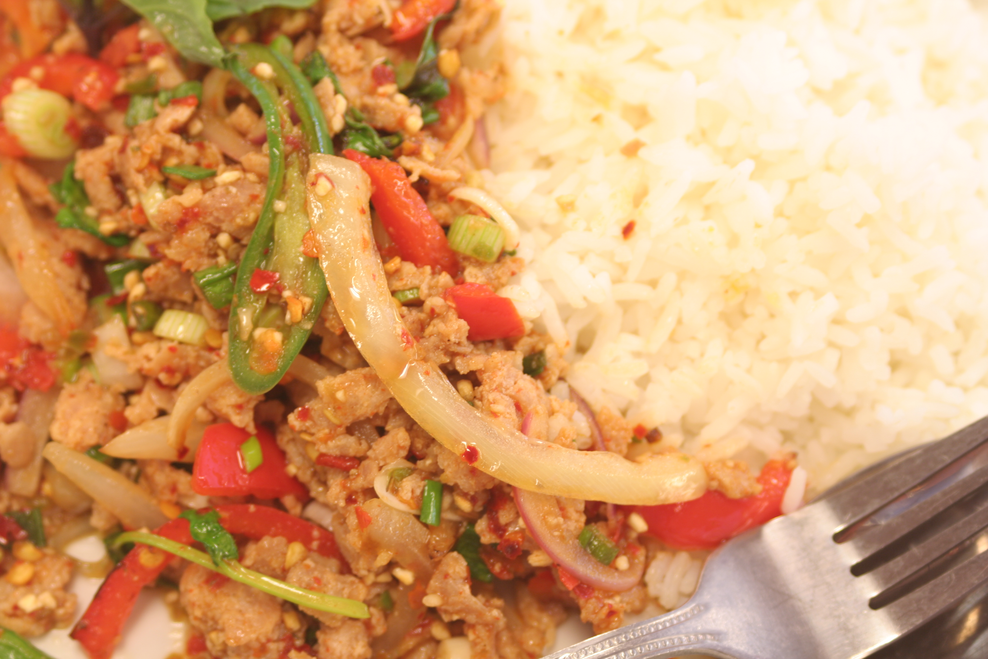 Pad Ka Paow With Rice