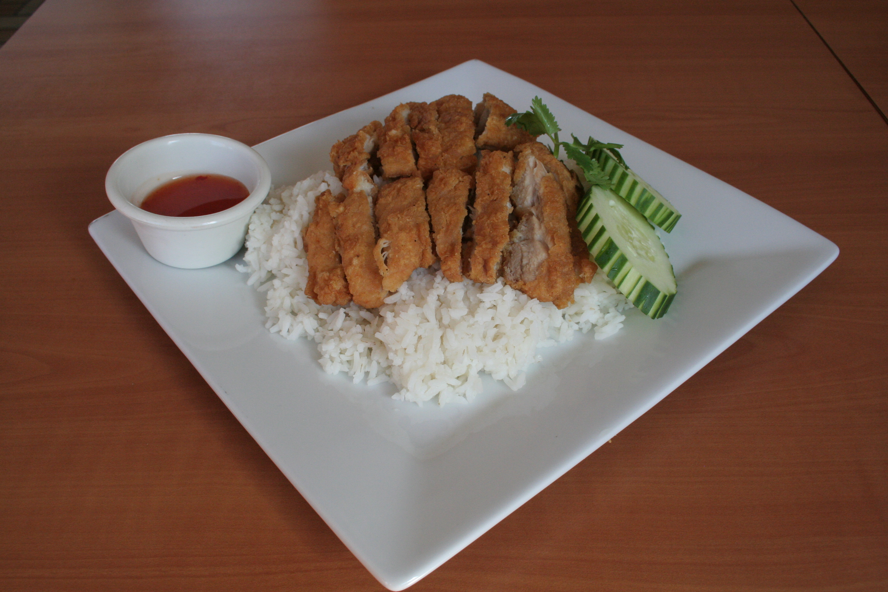 Crispy Chicken over Steamed Rice